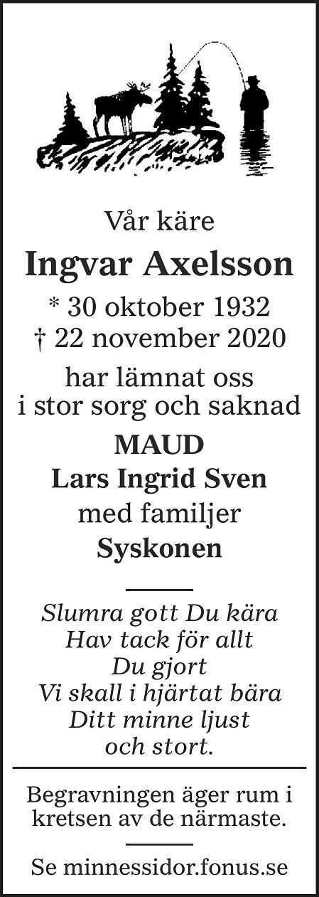 Ingvar Axelsson Death notice