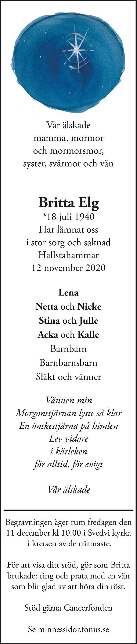 Britta Linnea Elg Death notice