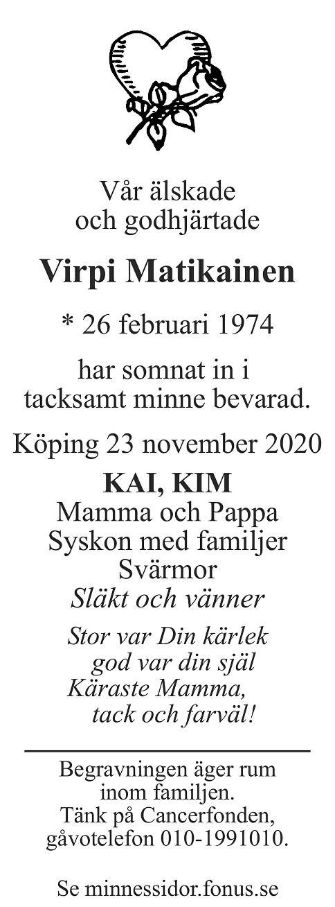 Virpi Matikainen Death notice