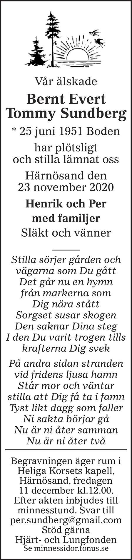 Bernt Sundberg Death notice
