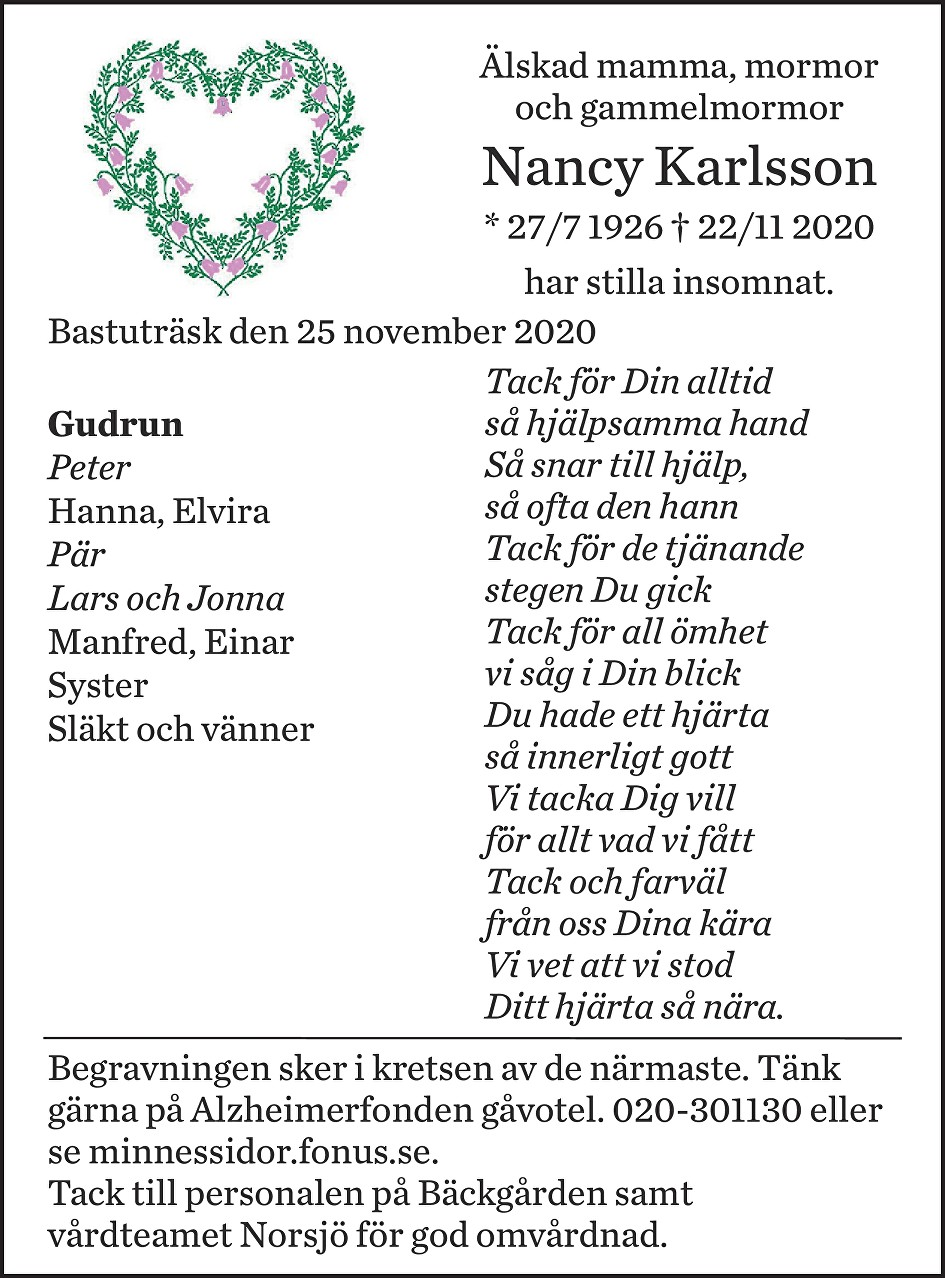 Nancy Karlsson Death notice