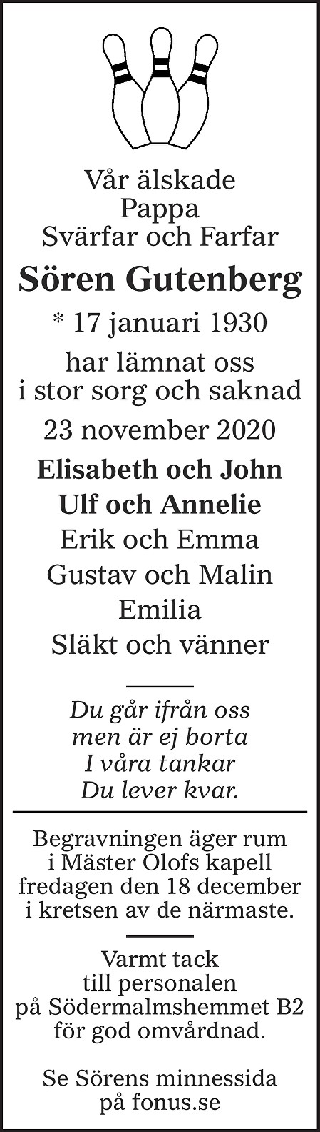 Sören Gutenberg Death notice