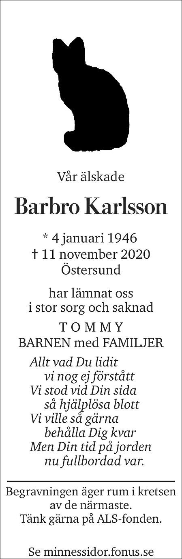 Barbro Karlsson Death notice