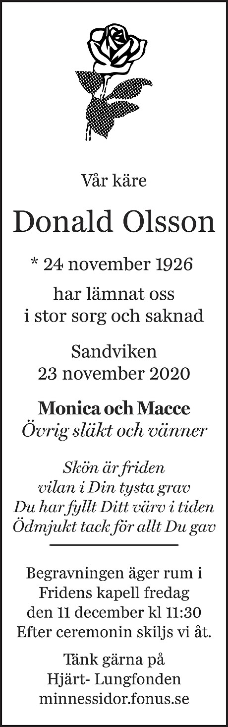 Donald Olsson Death notice