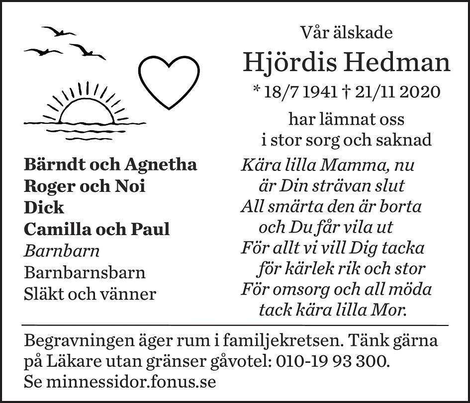Hjördis Hedman Death notice