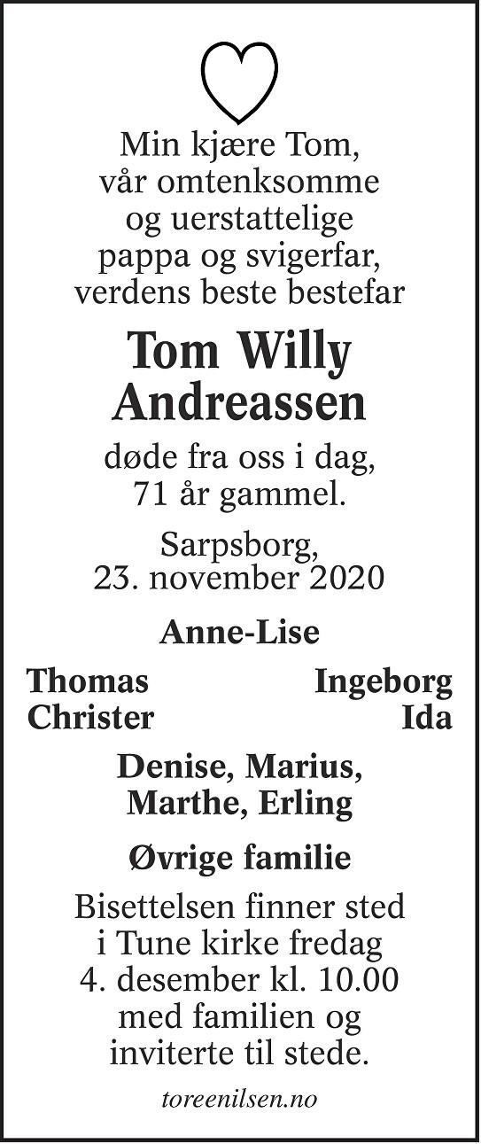 Tom Willy Andreassen Dødsannonse