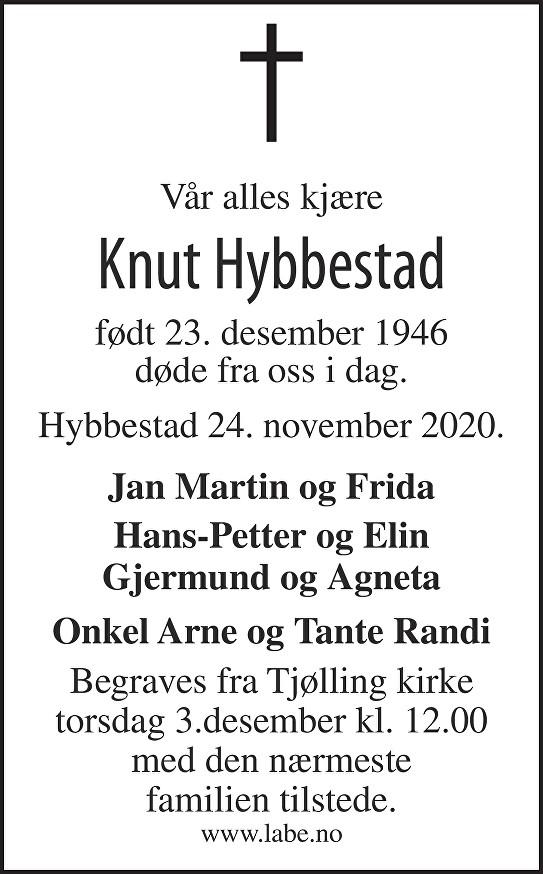 Knut Hybbestad Dødsannonse