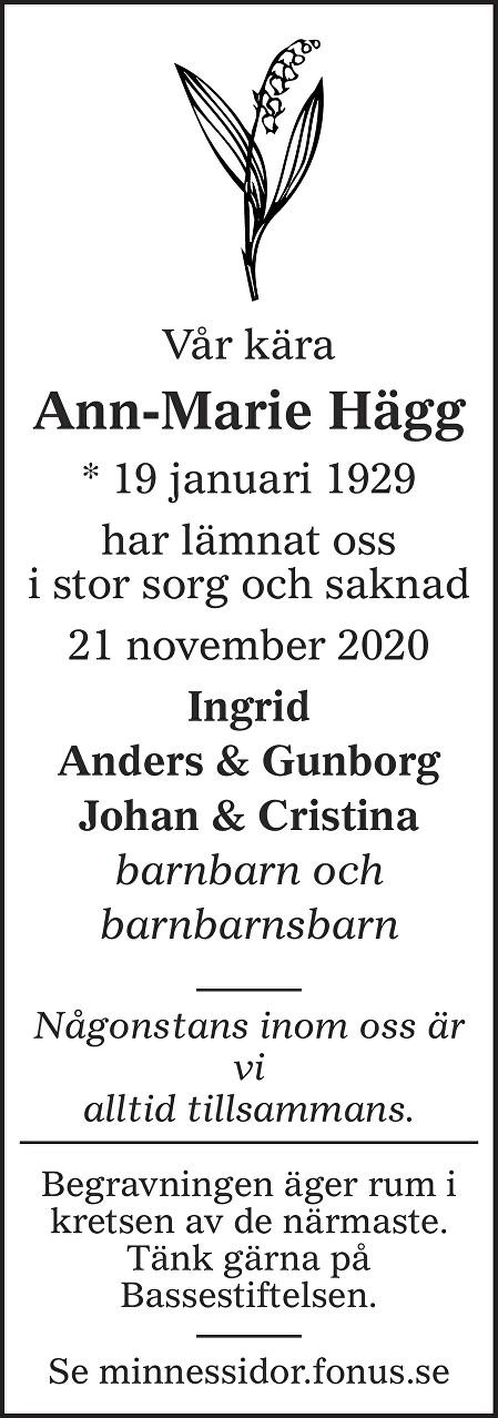 Ann-Marie Hägg Death notice