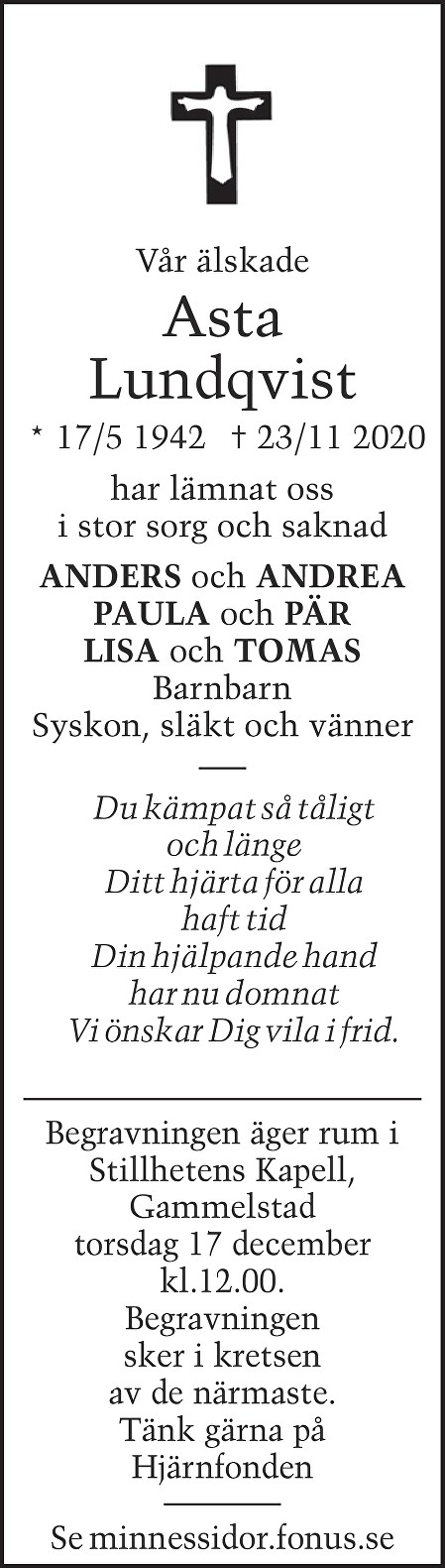 Asta Lundqvist Death notice