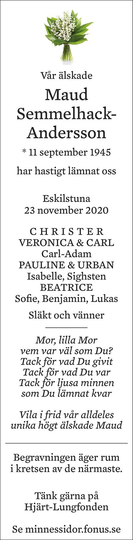 Maud Semmelhack-Andersson Death notice