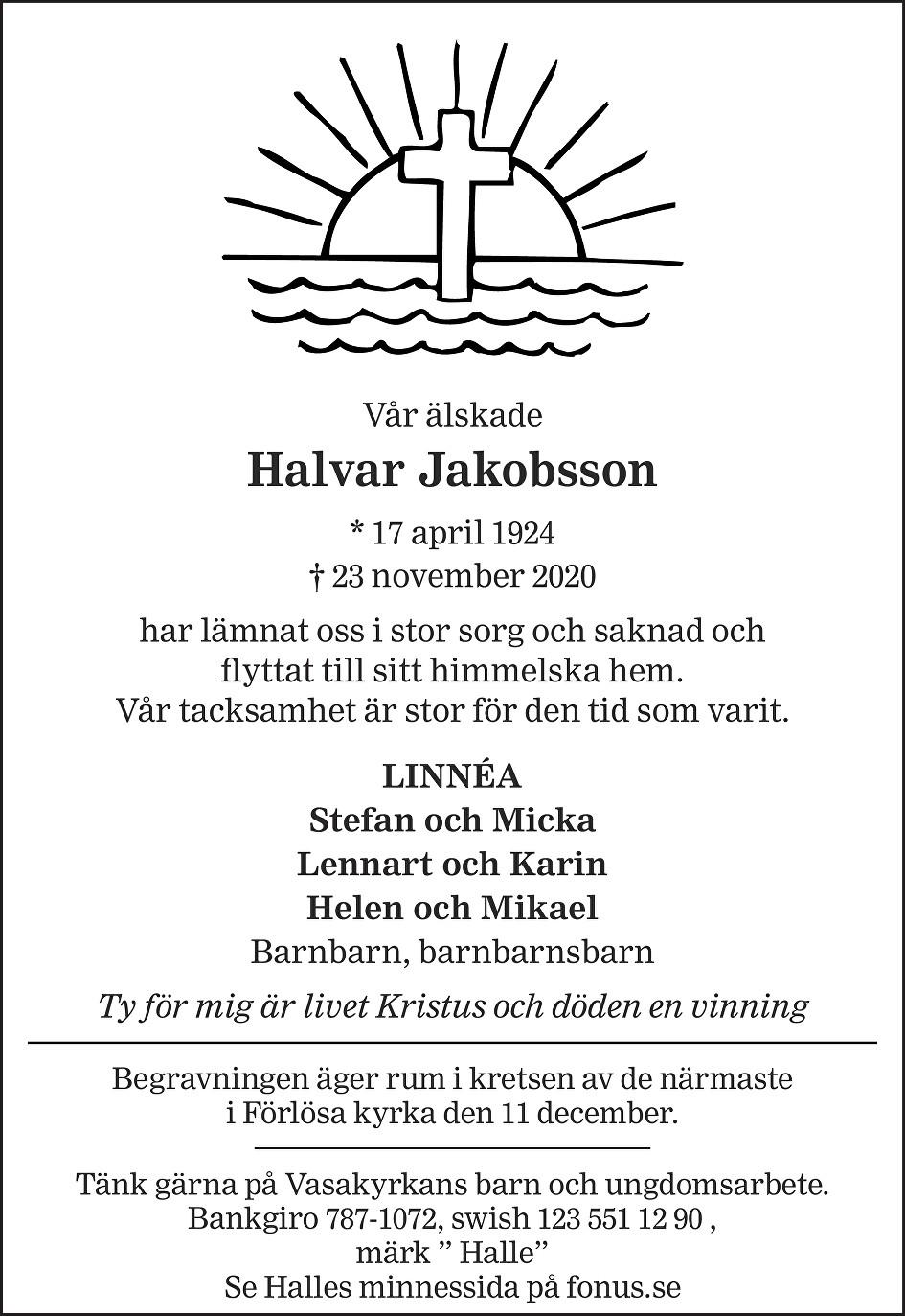 """Halvar """"Halle"""" Jakobsson Death notice"""
