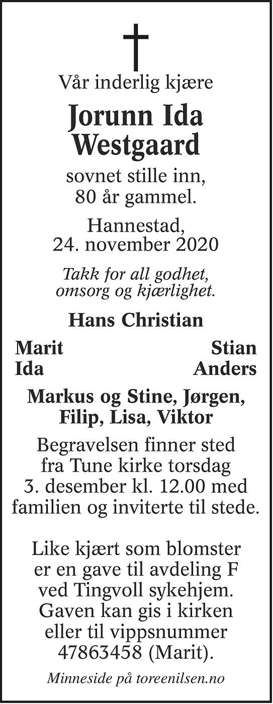 Jorunn Ida Westgaard Dødsannonse