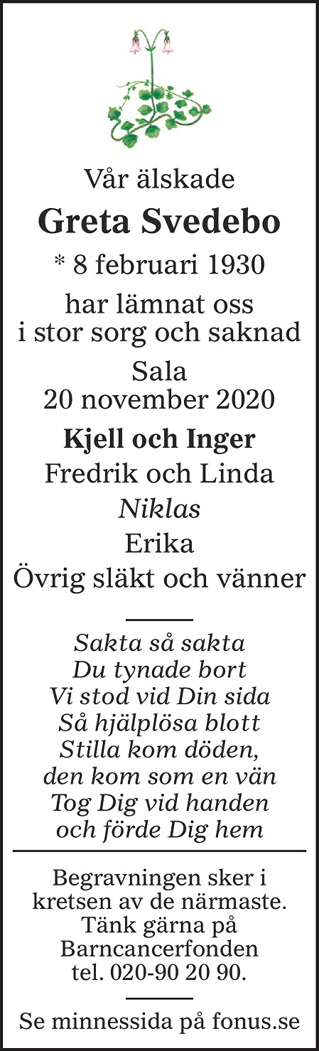 Greta Svedebo Death notice