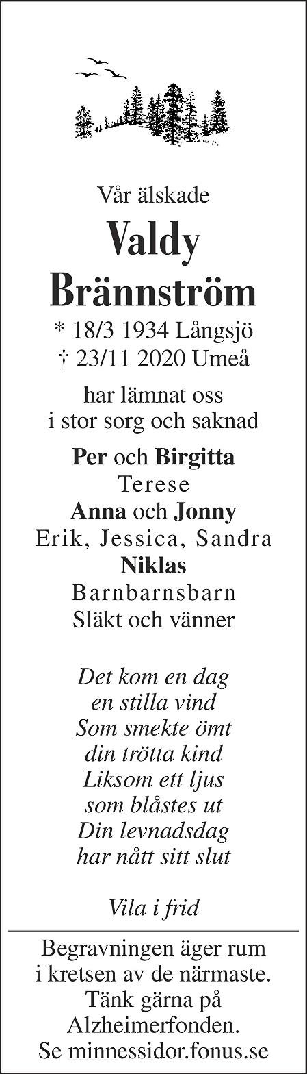 Valdy Brännström Death notice