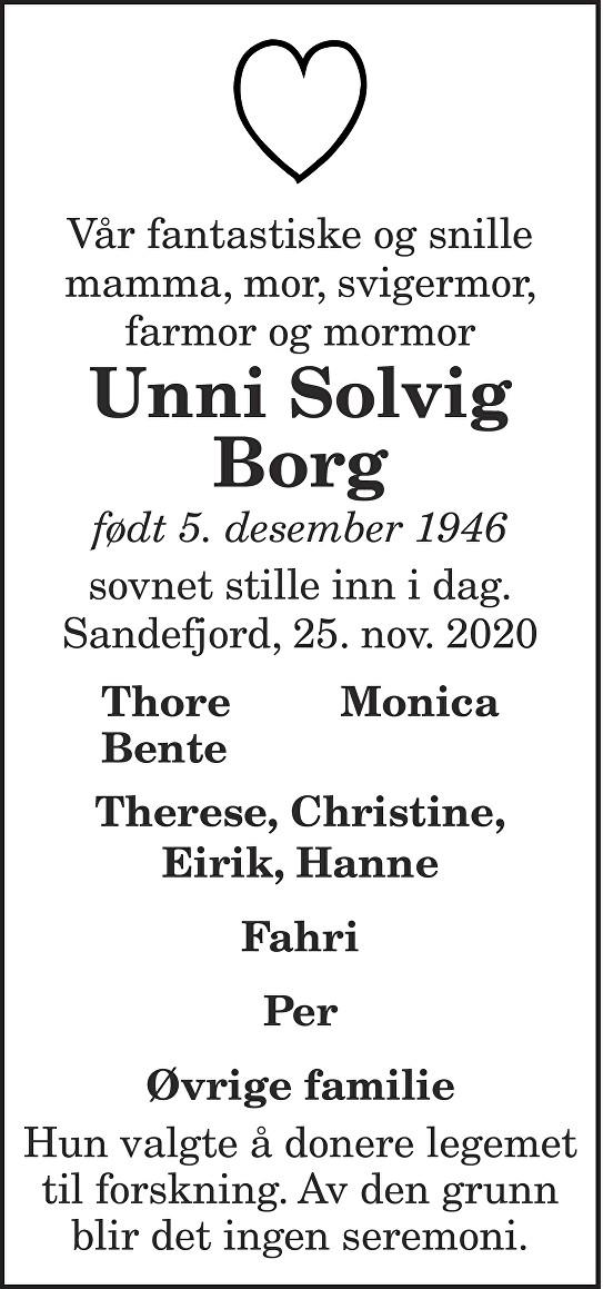 Unni Solvig Borg Dødsannonse