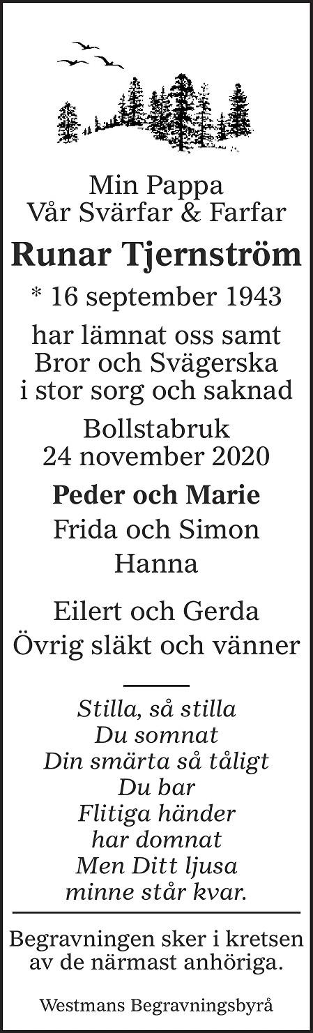 Runar Tjernström Death notice