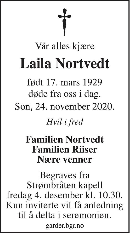Laila Nortvedt Dødsannonse