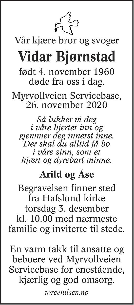 Vidar Bjørnstad Dødsannonse