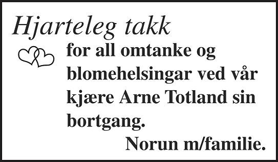 Arne Totland Dødsannonse