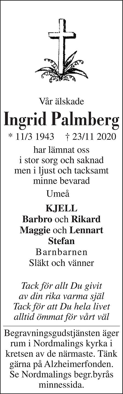 Ingrid Palmberg Death notice