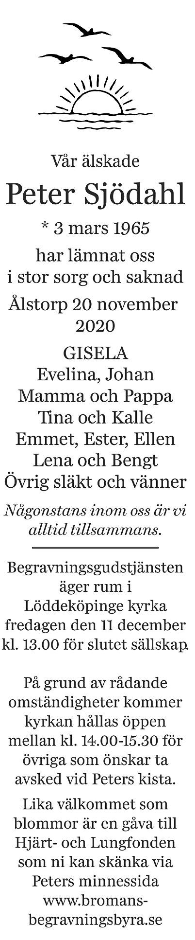Peter  Sjödahl Death notice