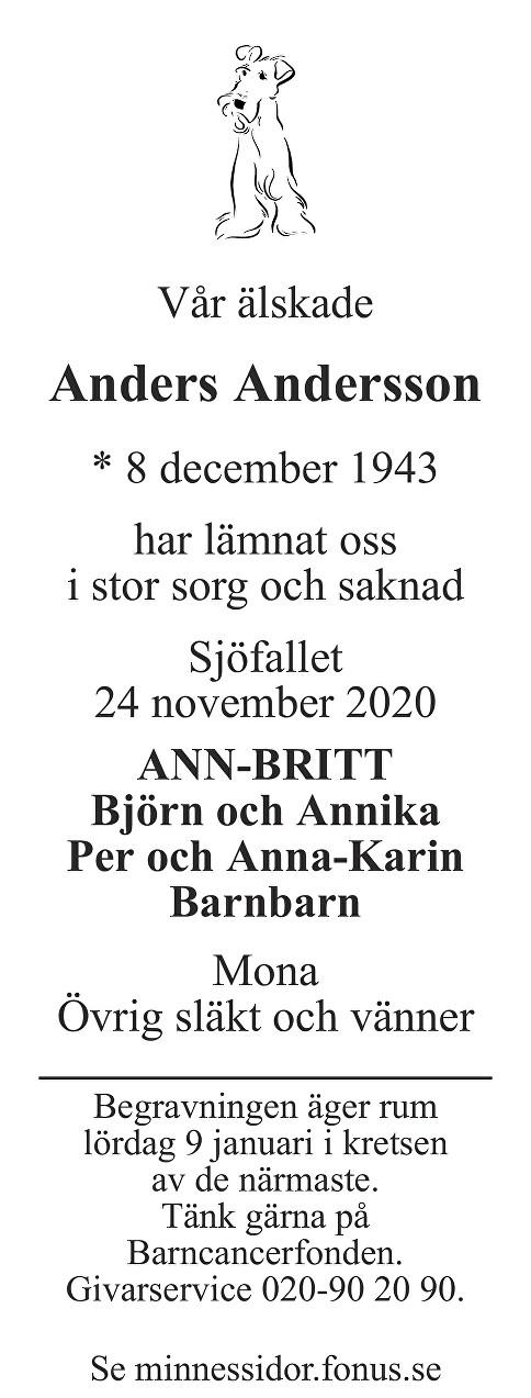 Anders Andersson Death notice
