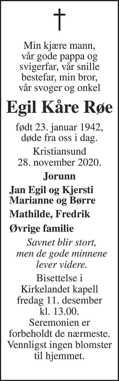 Egil Kåre Røe Dødsannonse