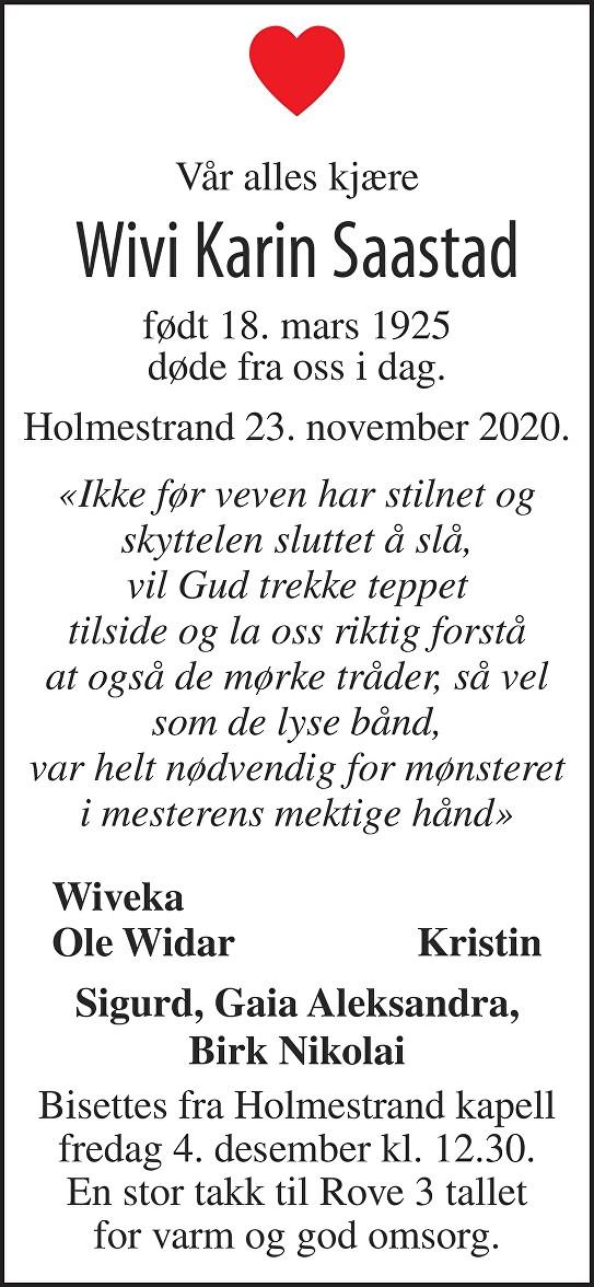 Wivi Karin Saastad Dødsannonse