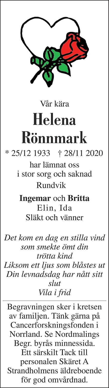 Helena Rönnmark Death notice