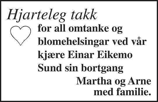 Einar Eikemo Sund Dødsannonse