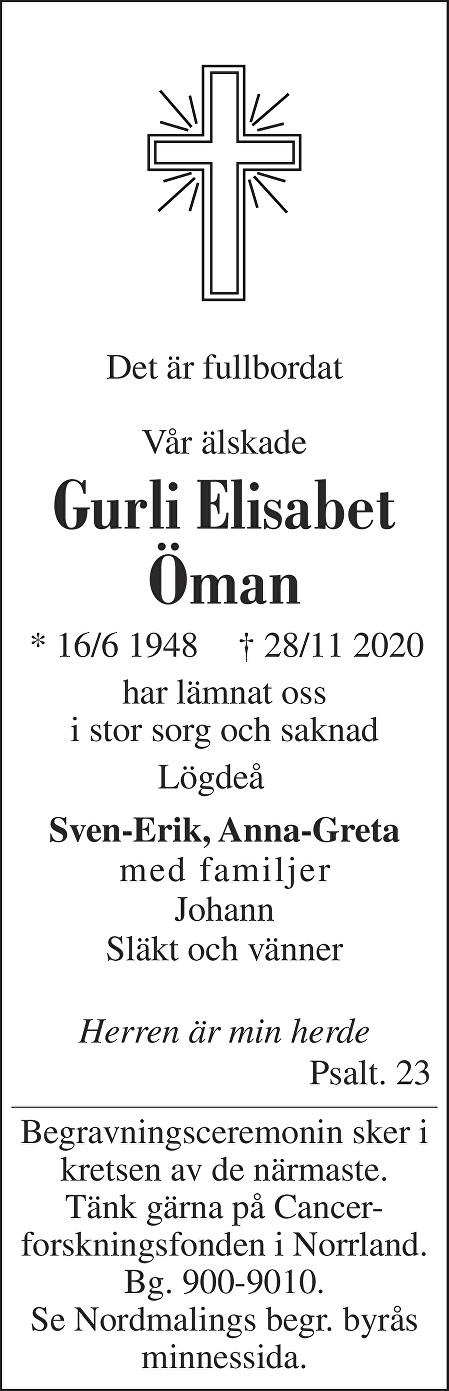 Gurli Elisabet Öman Death notice