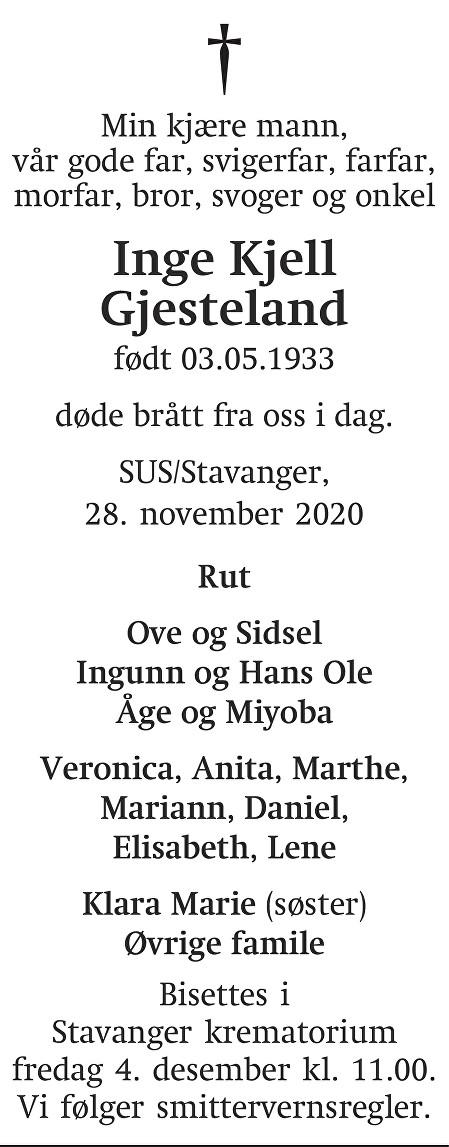 Inge Kjell Gjesteland Dødsannonse