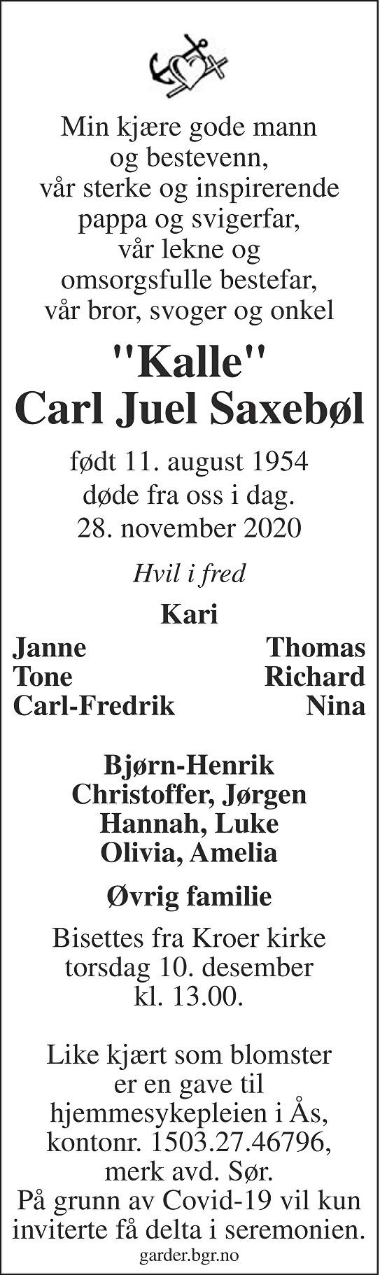 Carl Juel Saxebøl Dødsannonse
