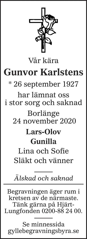 Gunvor Karlstens Death notice