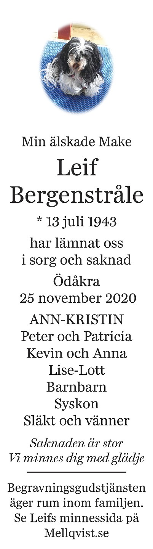 Leif Bergenstråle Death notice