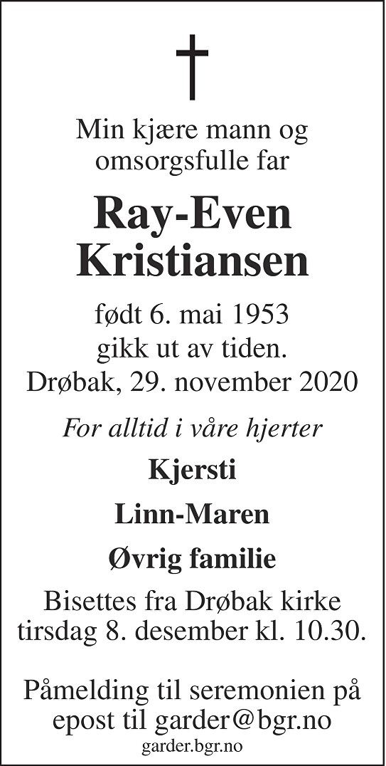 Ray-Even Kristiansen Dødsannonse