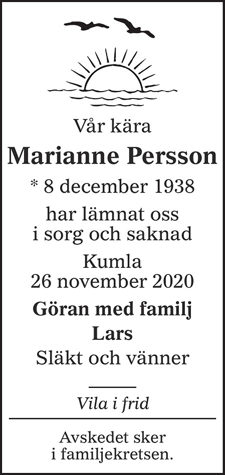 Marianne Persson Death notice