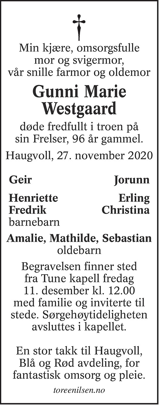 Gunni Marie Westgaard Dødsannonse