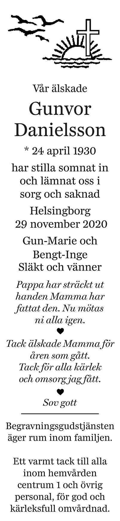 Gunvor Danielsson Death notice