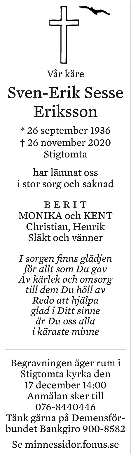 Sven-Erik Sesse Eriksson Death notice