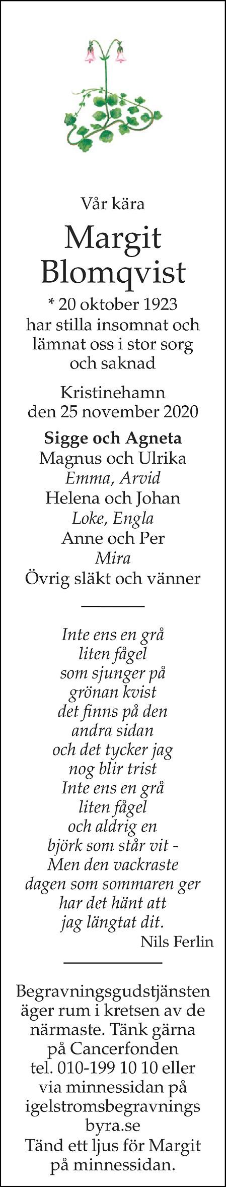 Margit Blomqvist Death notice