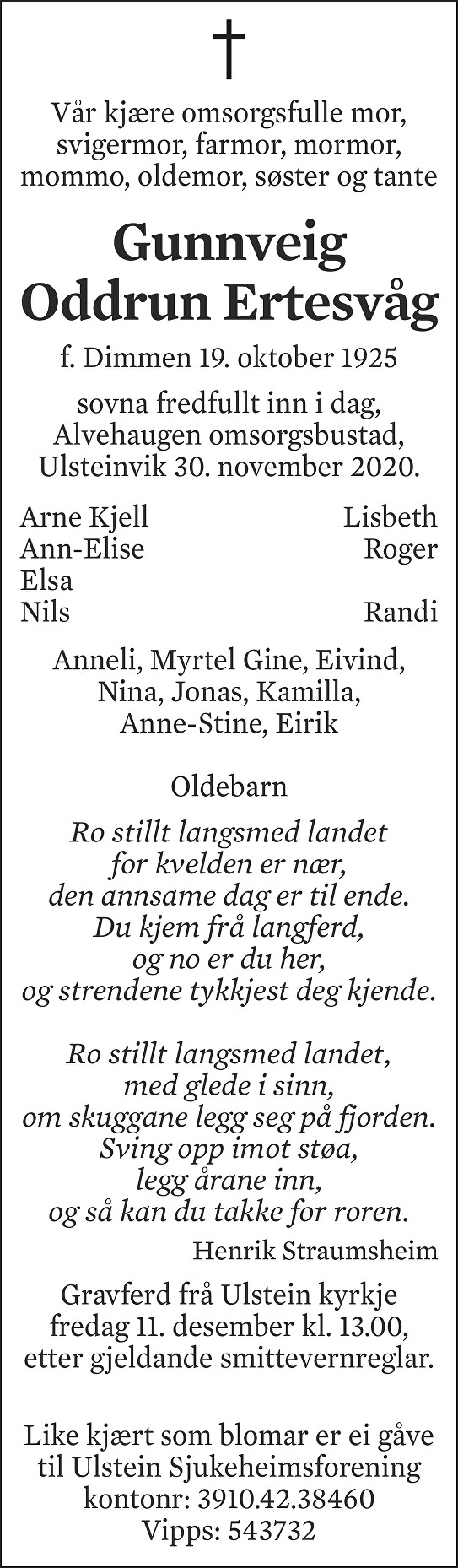 Gunnveig Oddrun Ertesvåg Dødsannonse