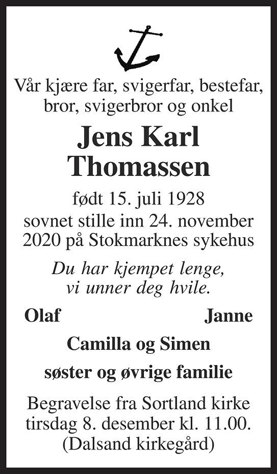 Jens Karl Thomassen Dødsannonse