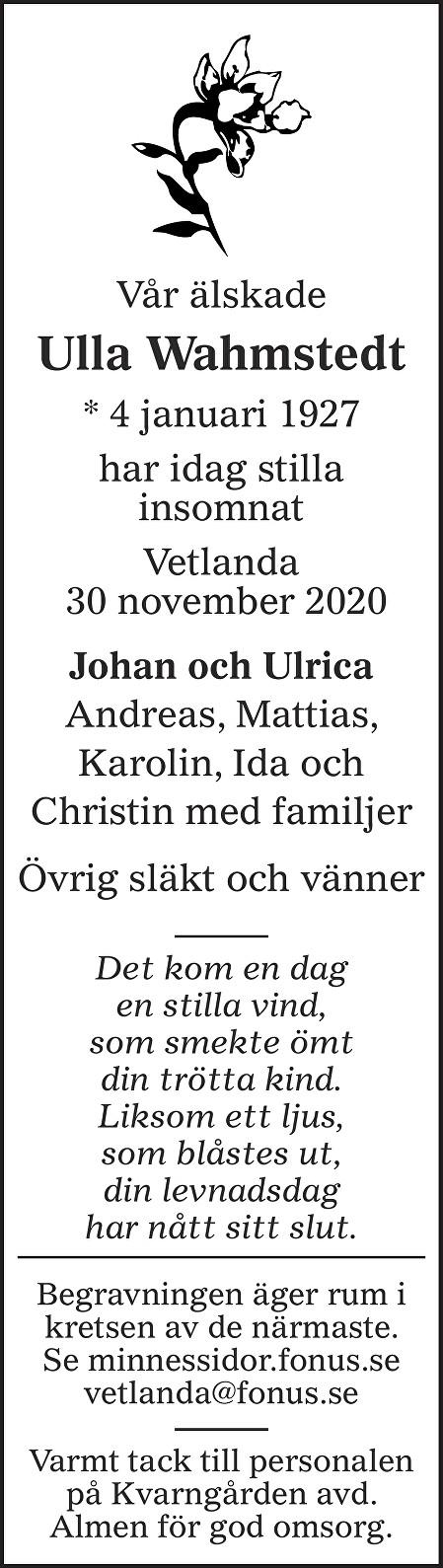 Ulla Wahmstedt Death notice