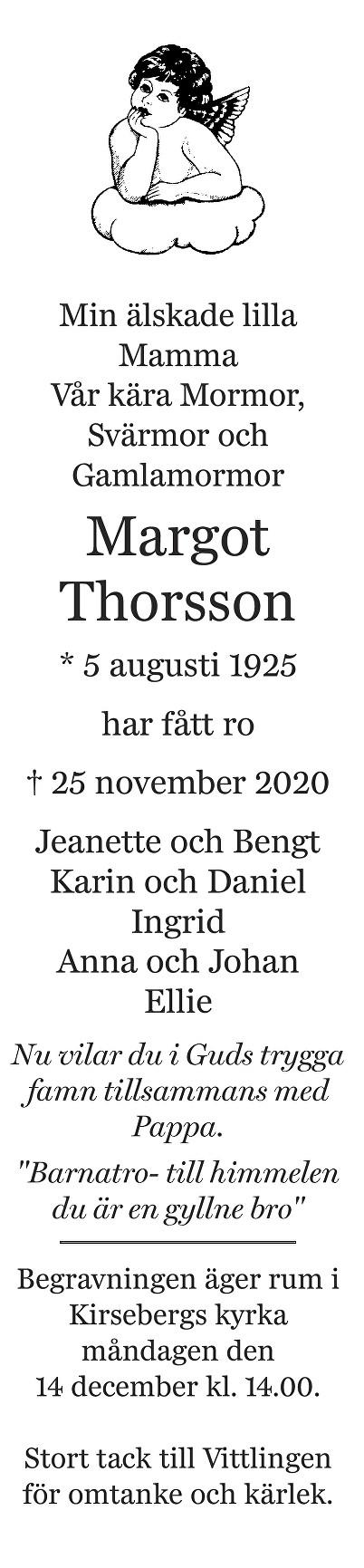 Margot Thorsson Death notice