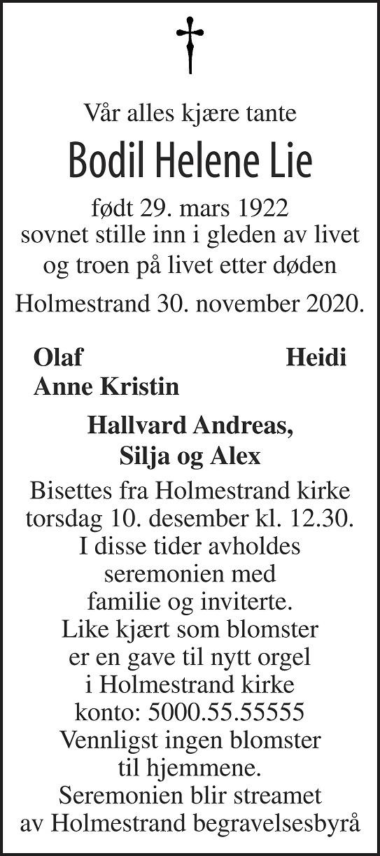 Bodil Helene Lie Dødsannonse