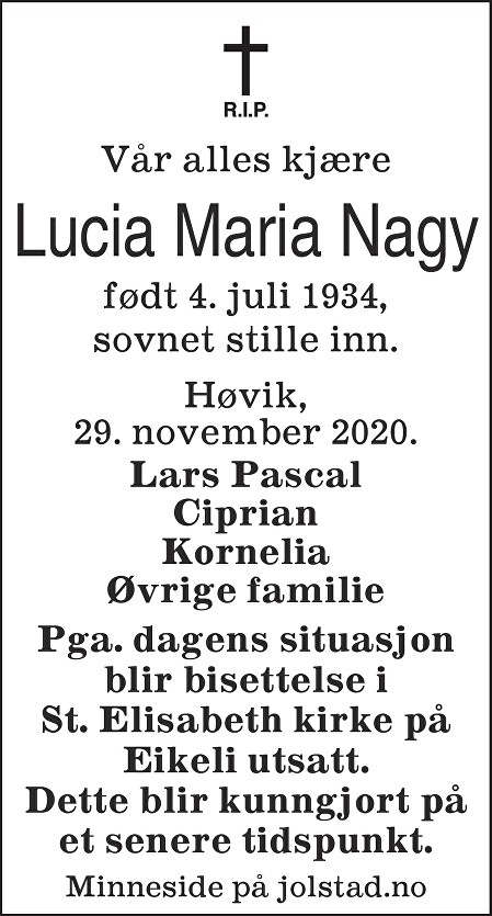 Lucia Maria Nagy Dødsannonse