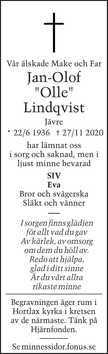 "Jan-Olof ""Olle"" Lindqvist Death notice"