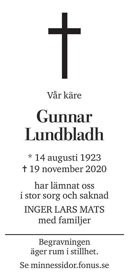 Gunnar Lundbladh Death notice