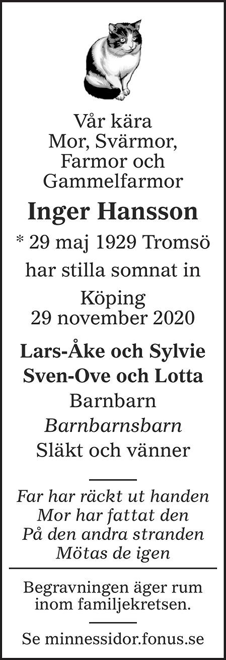Inger Hansson Death notice